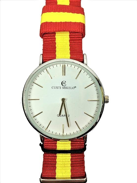 Reloj de Pulsera con la Bandera de España.: Amazon.es: Relojes