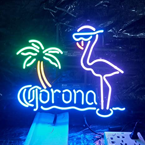 Mirsne Neon Signs Glass Tube Neon Lights 17 By 14 Inch Corona Flamingo Neon Signs Bar The Best Neon Sign Custom Supplied For A Wide Range Of