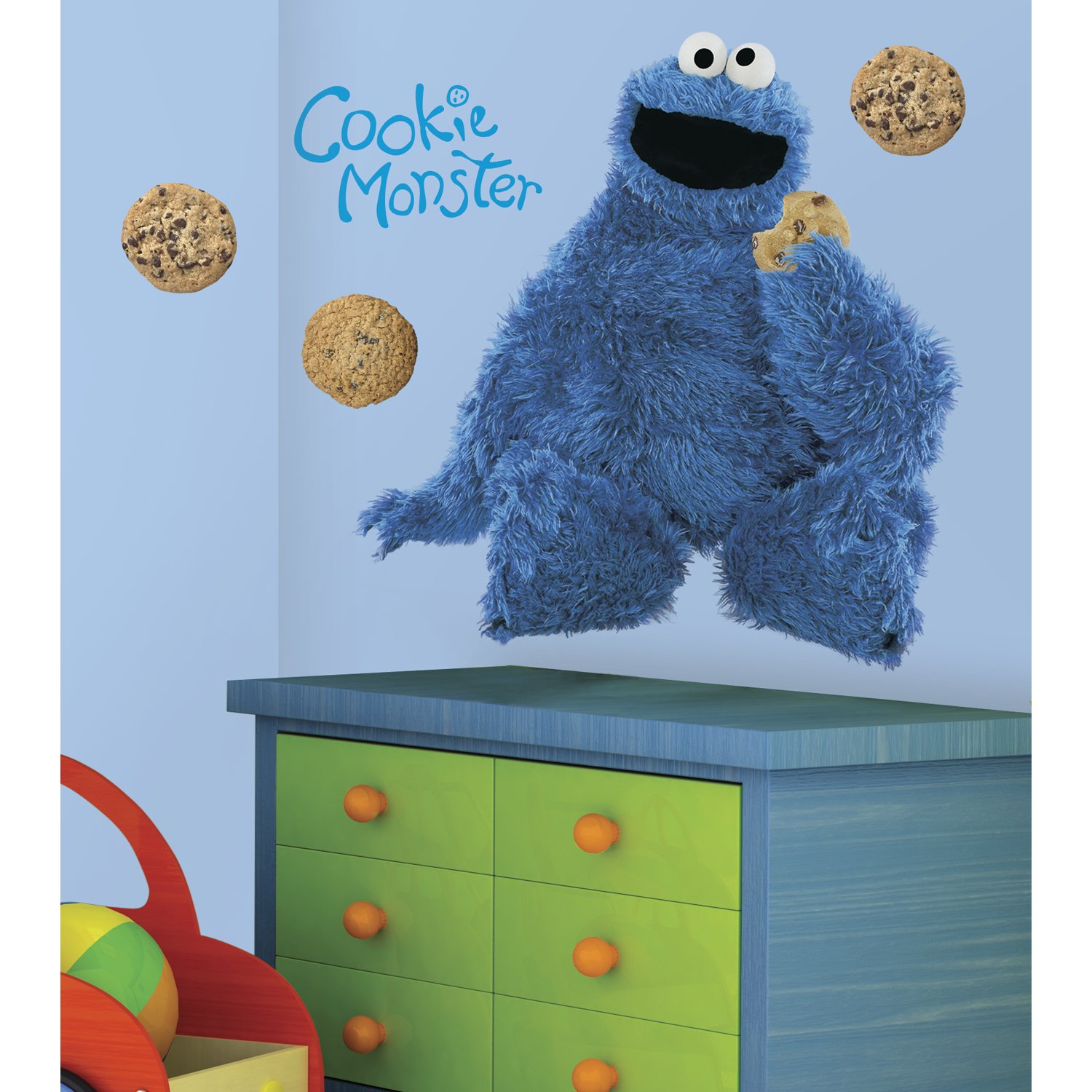 Roommates rmk1483gm sesame street cookie monster giant peel roommates rmk1483gm sesame street cookie monster giant peel stick wall decal childrens wall decor amazon amipublicfo Image collections