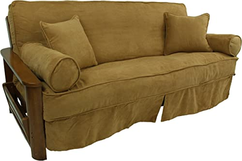 Blazing Needles Solid Microsuede Double Corded 8 to 9 Futon Slipcover Set with 4 Throw Pillows Set of 5 , Full, Berry Berry