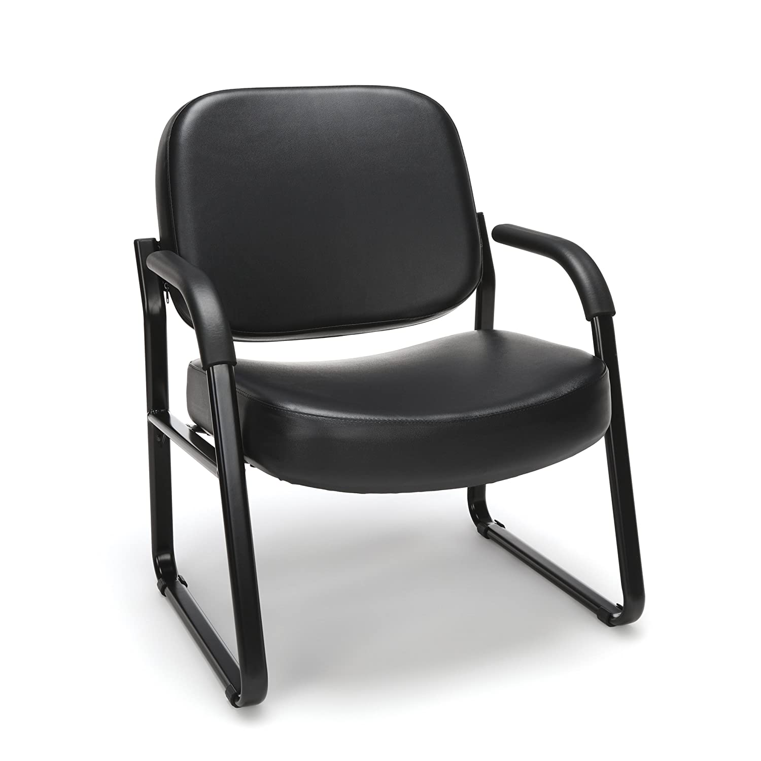 OFM Big and Tall Reception Chair with Arms – Anti-Microbial Anti-Bacterial Vinyl Mid-Back Guest Chair, Black
