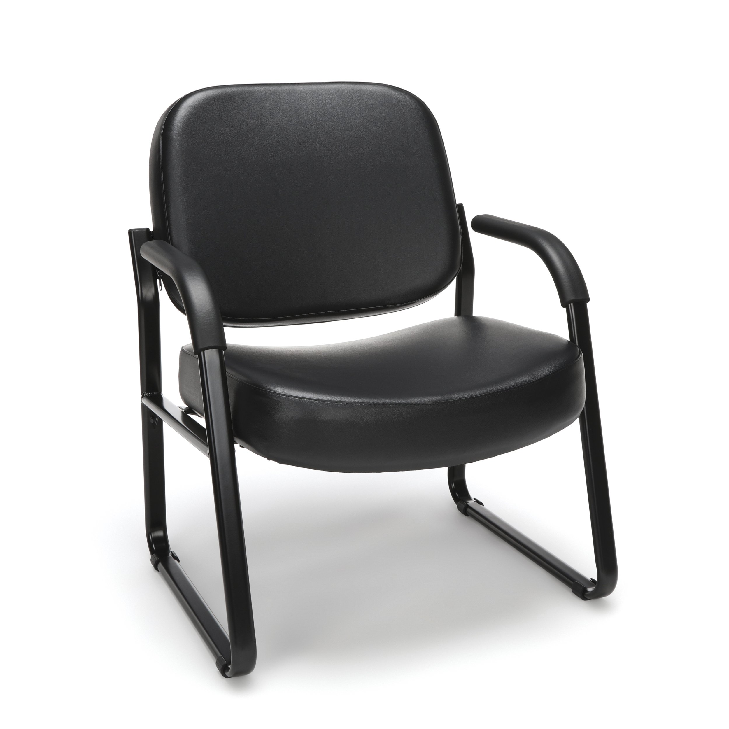 OFM Big and Tall Reception Chair with Arms - Anti-Microbial/Anti-Bacterial Vinyl Mid-Back Guest Chair, Black by OFM