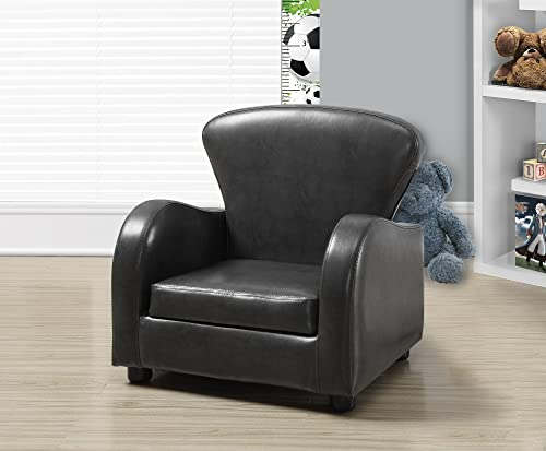 Monarch Specialties Charcoal Grey Leather-Look Juvenile Club Chair, 20-Inch