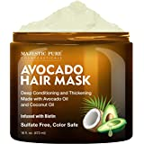 MAJESTIC PURE Avocado and Coconut Hair Mask for Dry Damaged Hair - Infused with Biotin - Deep Conditioning, Hair…