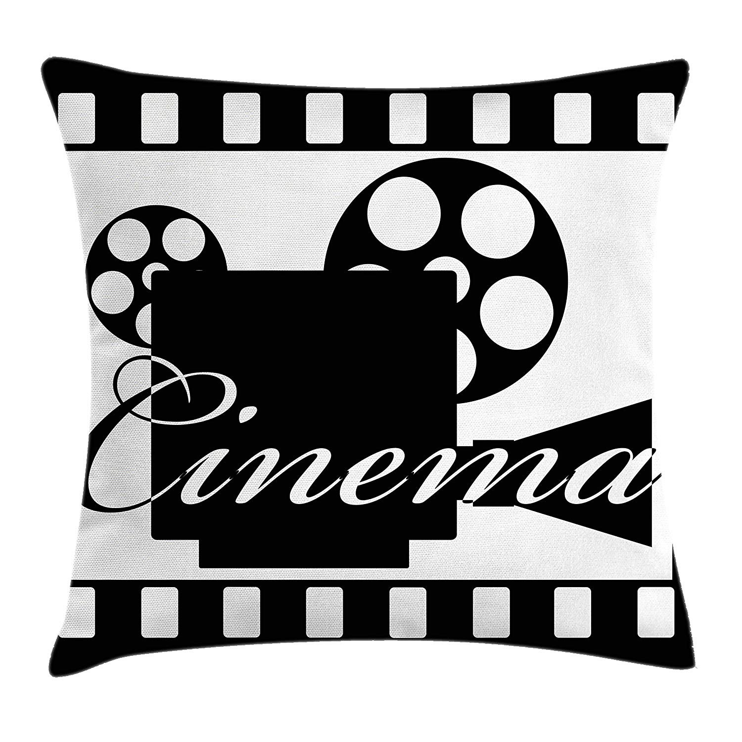 Queen Area Movie Theater Monochrome Cinema Projector inside a Strip Frame Abstract Geometric Pattern Square Throw Pillow Covers Cushion Case for Sofa Bedroom Car 18x18 Inch, Black White
