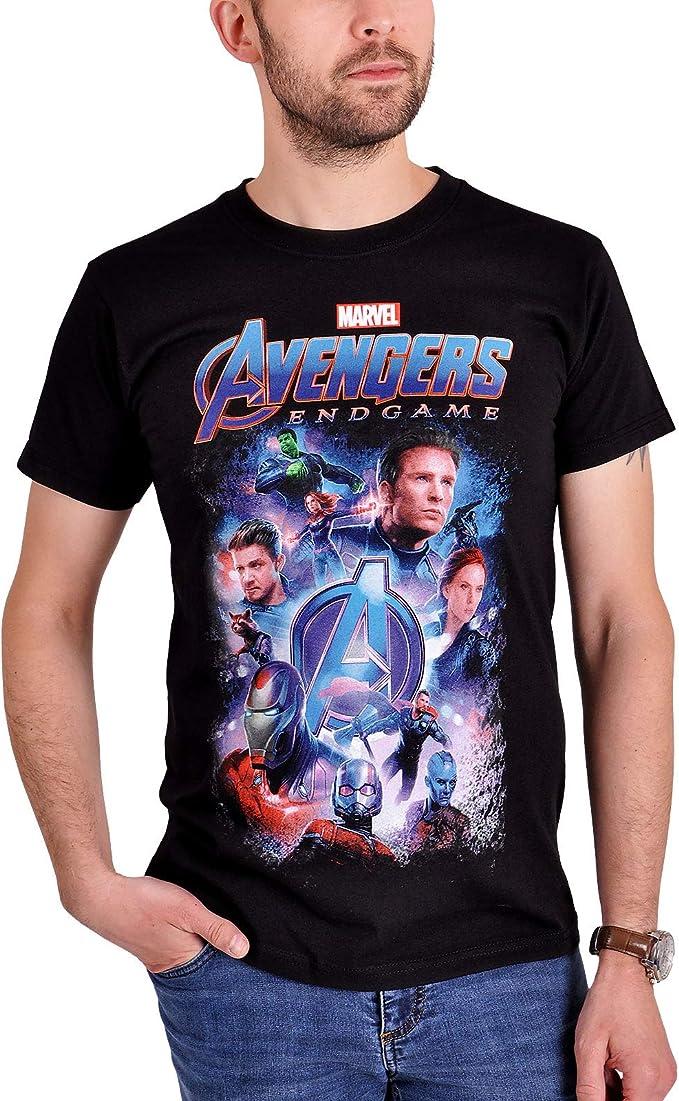 Avengers Camiseta Hombre Endgame Collage Marvel Algodón Negro: Amazon.es: Ropa y accesorios