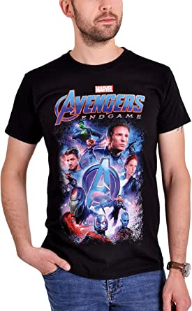 Avengers Camiseta Hombre Endgame Collage Marvel Algodón Negro