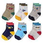Flanhiri Baby Boys Toddler Non Skid Cotton Socks with Grip (6-12 Months, 6 Designs/Set 2)