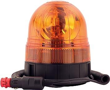 Adluminis Halogen Rundumleuchte Orange Mit Magnetfuß Blinkleuchte 12v 24v Ece R65 Straßenverkehr Zulassung Kfz Auto Warnleuchte Auto