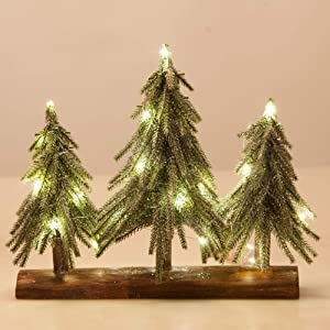 VGIA 3 Pack Mini Artificial Christmas Trees with Lights on a Wooden Base Silver Artificial Snow Flocked Christmas Trees