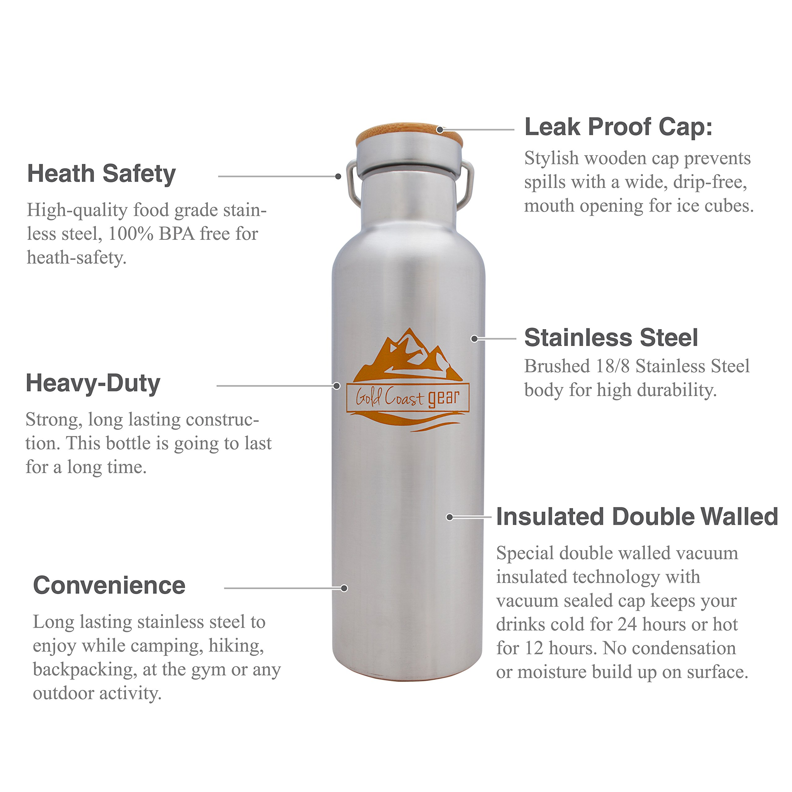 Vacuum Insulated Stainless Steel Water Bottle ( 25 OZ / 750 ML ). Zero Condensation! (750ml) by Gold Coast gear (Image #2)