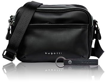 5caa5caf31701 bugatti Senso RFID kleine Kunstleder Schultertasche für Damen - edle  Umhängetasche in schwarz