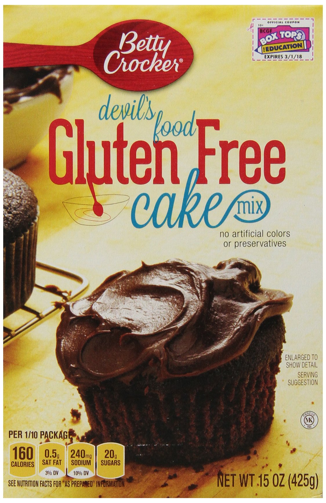 Betty Crocker Baking Mix, Gluten Free Cake Mix, Devil's Food, 15 Oz Box (Pack of 6)