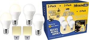 MiracleLED Miracle Combo Pack-2x Light-6pk (604143) The Original Home Makeover Bulb Kit w/Pest Protection, Wide Angle LED Max Cool + 2X-Bug Night Light, 6-Pack, Yellow,White, 6 Piece