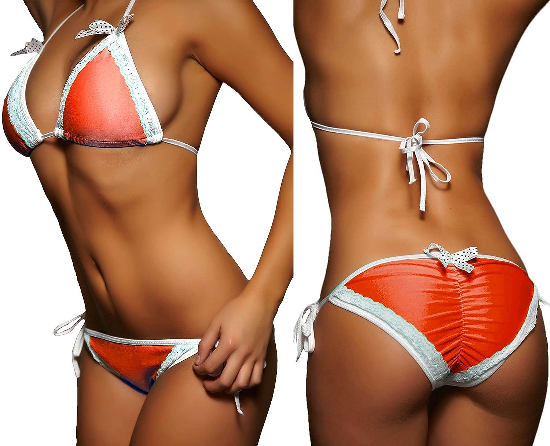Hot Sale 2019 ALZORA Neckholder Damen Bikini Push Up Set Top und Hose Spitze Orange, 10431