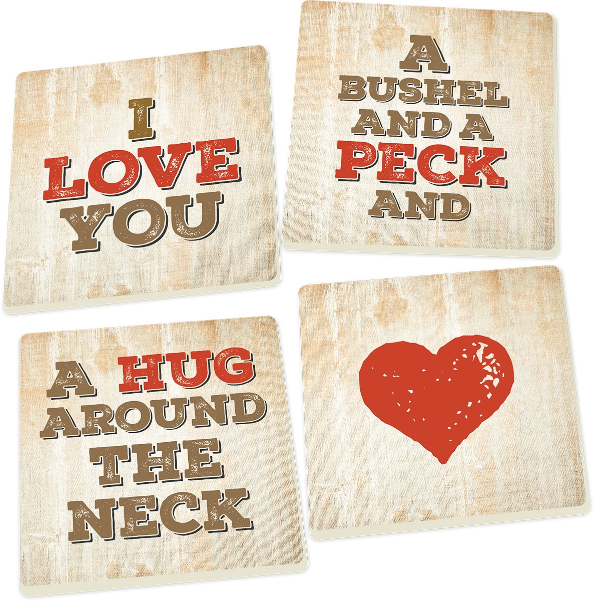 I Love You a Bushel and a Peck 5 x 5 Super Absorbent Ceramic Coasters, Set of 4 by P Graham Dunn (Image #1)