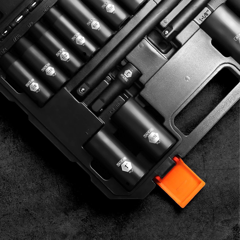 TACKLIFE 1/2-Inch Drive Master Deep Impact Socket Set, Inch, CR-V, 6 Point, 17-Piece Set - HIS2A by TACKLIFE (Image #4)