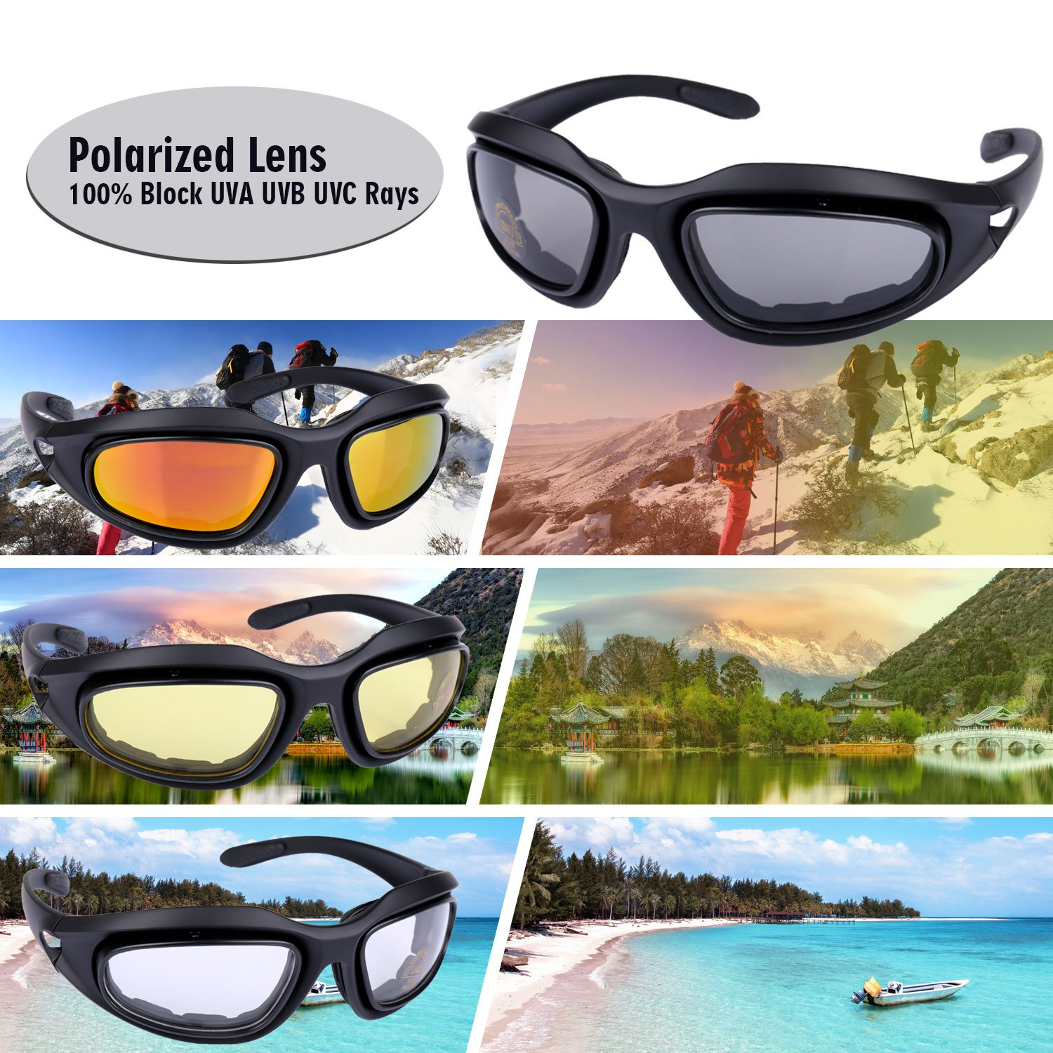 09ee3bba5aa7 ActionEliters Tactical Eyewear Eyeshield Polarized UV400 Protective  Shooting Safety Glasses Kit w/ 3 Lenses for Shooting Driving Fishing  Running and More ...