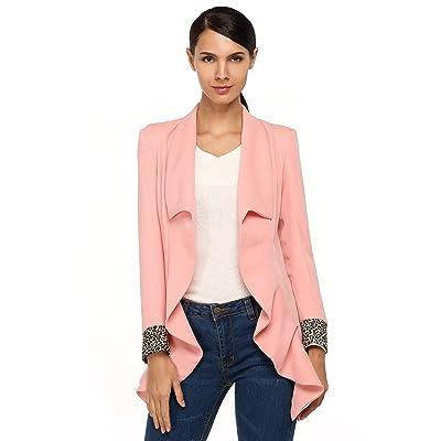 CRAVOG 2016 Mode Blazer Longue Femme Chic Slim Manches Imprimées Longues Veste De Bureau Ourlet Asymétrique Printemps/Automne