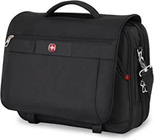 Swiss Gear SA8733 Black TSA Friendly ScanSmart Laptop Messenger Bag - Fits Most 15 Inch Laptops amd Tablets