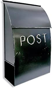 NACH TH-10023 POST Rustic Milano Pointed Mailbox - Wall Mounted Post Box, Black, 9.5 x 4 x 15 inch