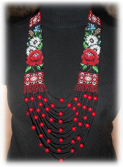 Beaded Long Necklace Creative Master Ukrainian Gerdan Traditional Folk Ukraine Necklace Handmade Jewelry