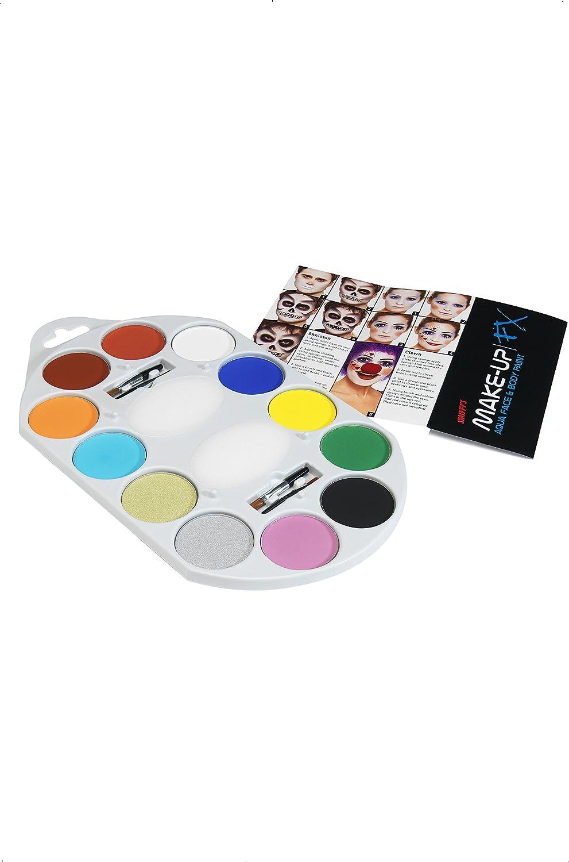 Smiffys Smiffys-39145 Maquillaje FX Smiffy Pallet, Aqua, pintura facial y de cuerpo, 12 colores, inclu, applicable 39145: Amazon.es: Juguetes y juegos