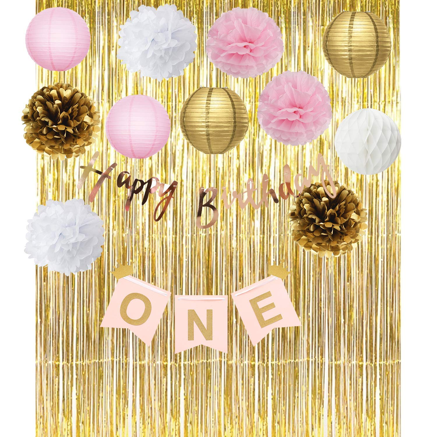 Furuix Pink Gold First Birthday Party Decorations Foil Curtain ONE Banner Happy Tissue Pom For One Year Old Girls Princess