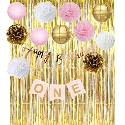 Furuix Pink Gold First Birthday Party Decorations Foil Curtain ONE Banner Happy