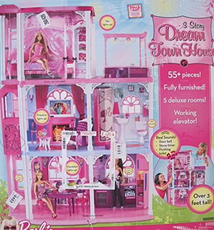 Amazon Com Barbie 3 Story Dream Town House Playset Townhouse W 55
