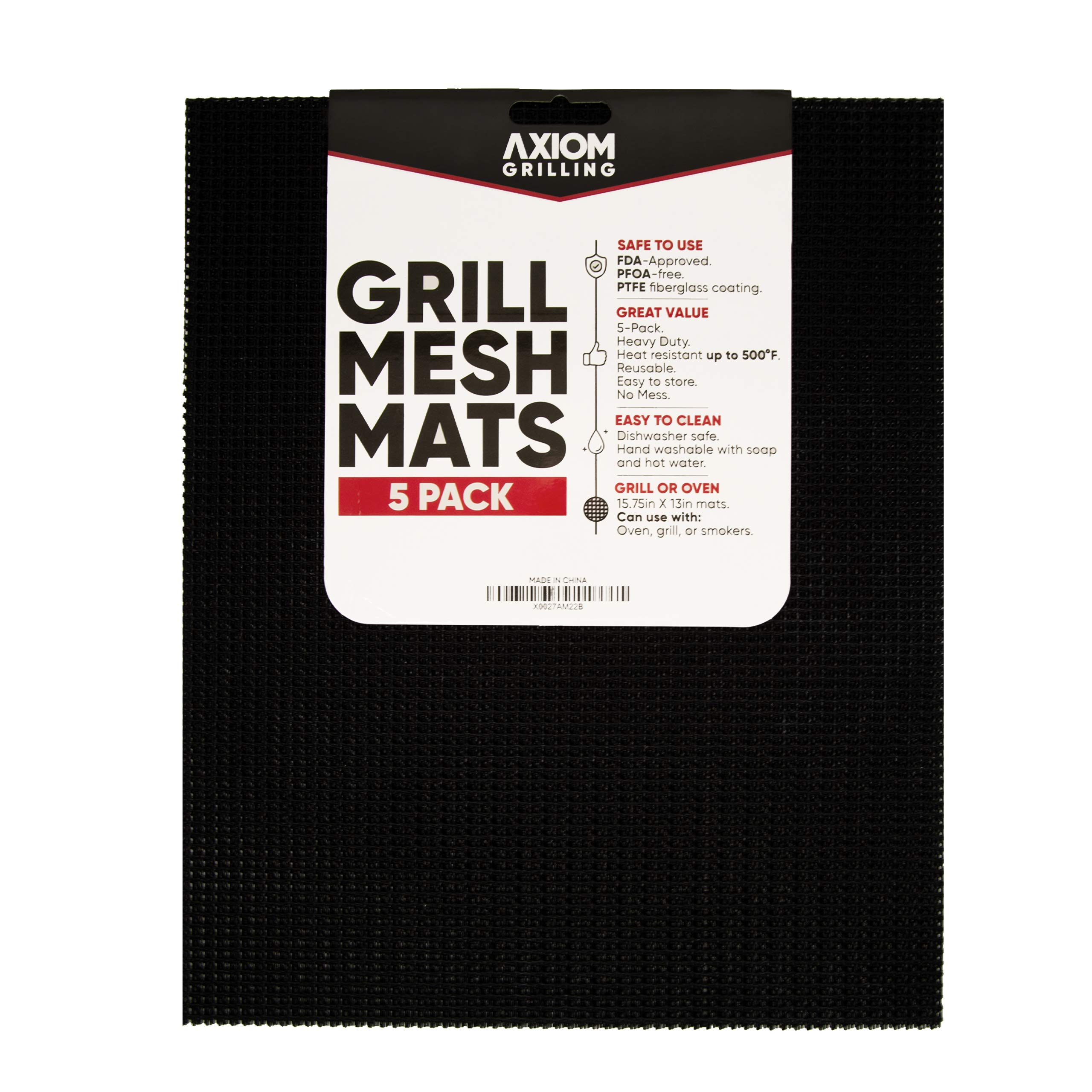 Axiom Grilling Mats for Gas Grill and BBQ | 5 Pack of Premium Nonstick BBQ Mesh Grill Mat Sheets | 15.75 X 13 Inches | Ideal for The Oven, Grill, Barbeque, and Smoker by Axiom Grilling