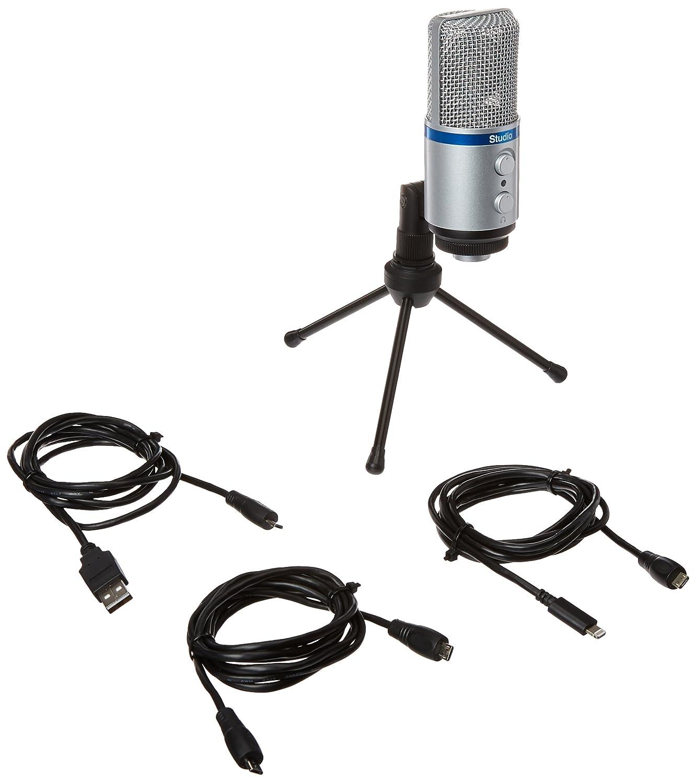 IK Multimedia iRig Mic Studio digital studio microphone for iPhone, iPad, Android and Mac/PC (black) IP-IRIG-MICSTDBLA-IN