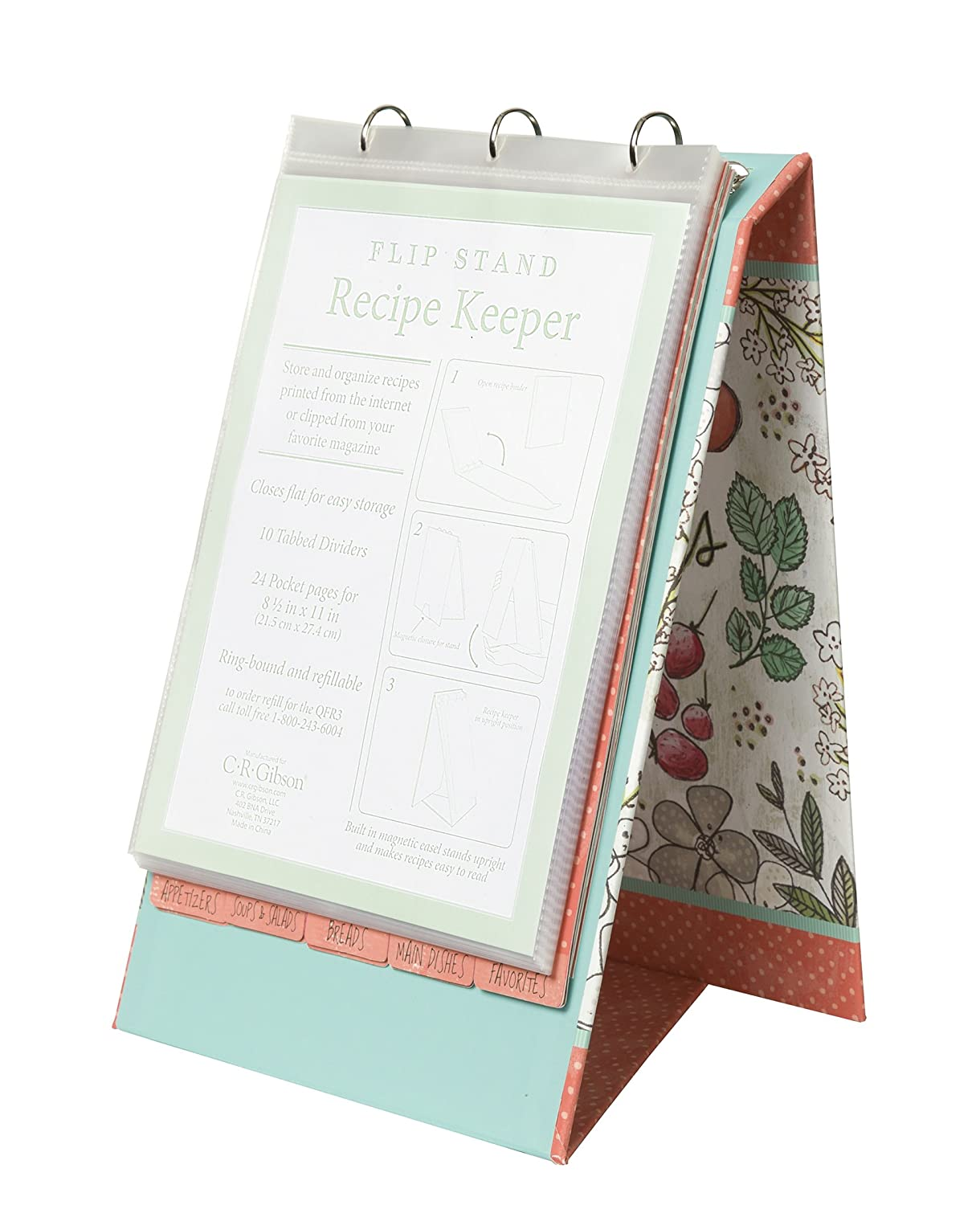 C.R. Gibson Vertical Recipe Keeper Flip Stand, Fruit Fusion, Multicolor QFR3-16556