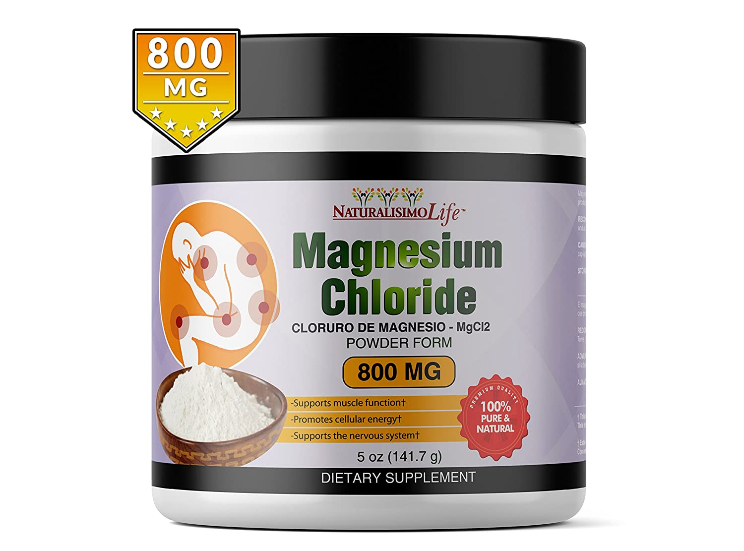 Amazon.com: Cloruro de Magnesio Magnesium Chloride 5oz (141.7g) 800mg measuring scoop inside 177 servings: Health & Personal Care