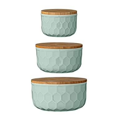 Bloomingville A21700005 Set of 3 Round Mint Green Stoneware Bowls with Bamboo Lids