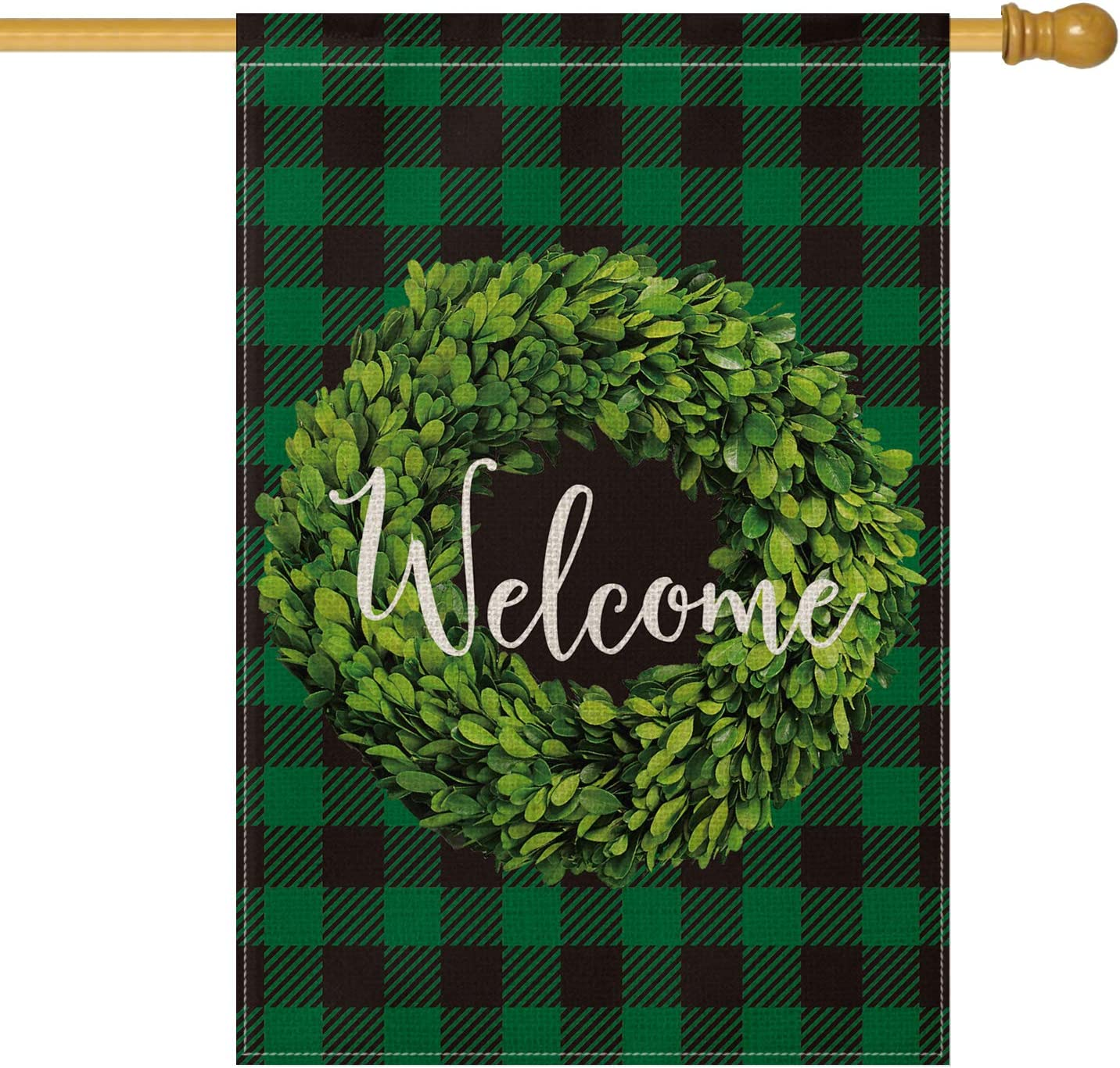 AVOIN Boxwood Wreath Welcome House Flag Vertical Double Sided, St Patrick Spring Buffalo Check Plaid Rustic Farmhouse Flag Yard Outdoor Decoration 28 x 40 Inch