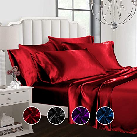 Premium Quality Thick Satin Silk Fitted Sheets Covers Single //Double// King Size