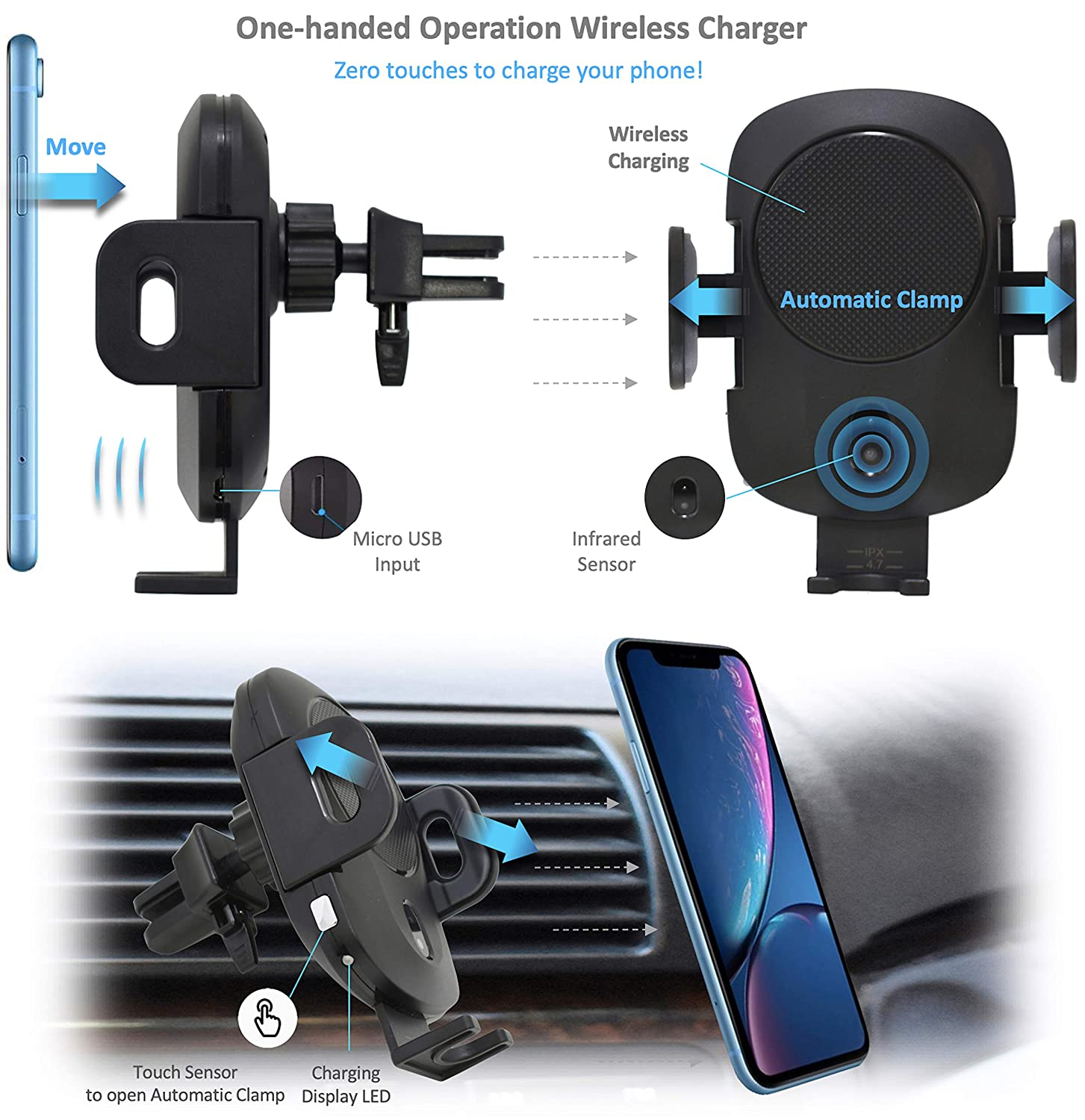 Samsung Galaxy Note 9//8 Automatic Clamp Phone Holder with Infrared Sensor S8//S9//S7//S6 and More MF-WCC-41 10W Fast Charging Compatible with iPhone XR//XS//X//8//MAX//PLUS MANINAM Wireless Car Charger