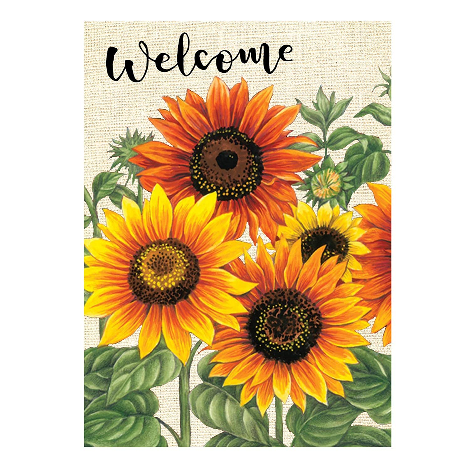 """Wamika Welcome Sunflower Fall Autumn Maple Leaves Double Sided Burlap Garden Yard Flag 12"""" x 18"""",Summer Fall Sunflowers Flower Farmhouse Burlap Decorative Garden Flags Banner for Outdoor Home"""