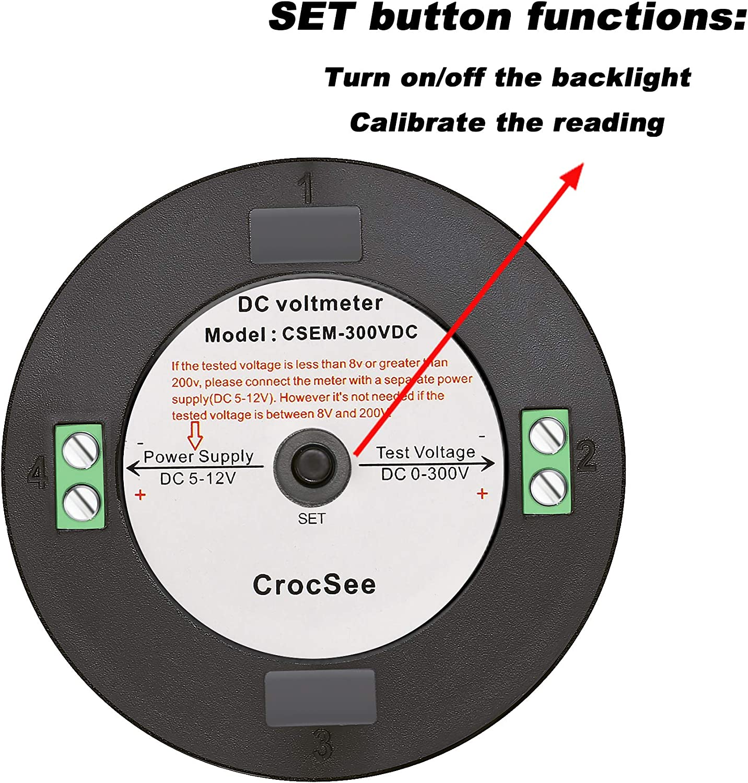 CrocSee DC 0~300V LCD Display Digital Voltmeter Voltage Meter Gauge Tester for Car Motorcycle Boat Marine Vehicle Truck RV Battery Monitor Calibratable Round Panel