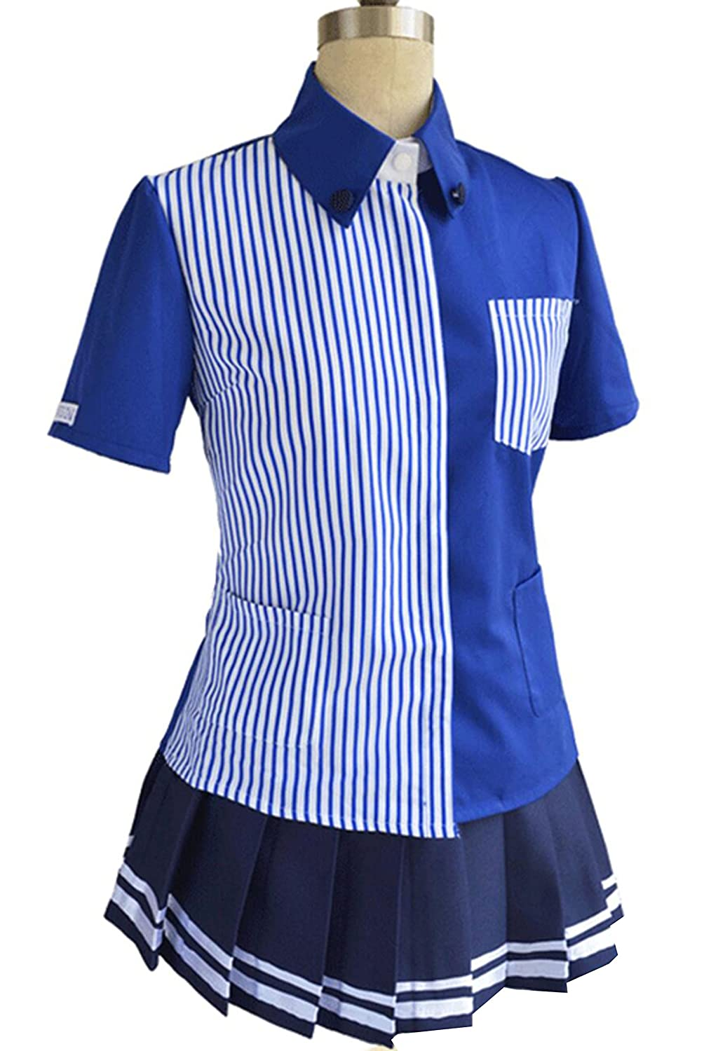 ZYHCOS Women's Short Sleeve bluee White Striped Casual Shirt bluee Skirt