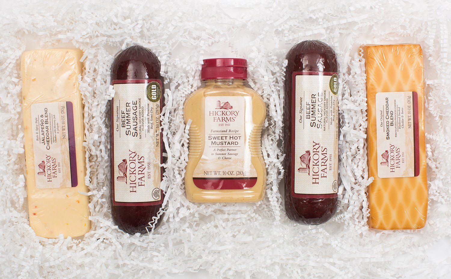 Amazon.com : Hickory Farms Deluxe Signature Beef Sausage & Cheese Gift Basket : Grocery & Gourmet Food