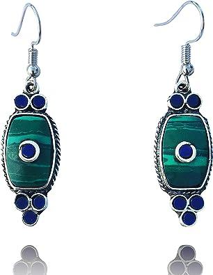 bohemian earrings women earrings jewelry silver color earrings gift for women or girlfriend long earrings Green gemstone earrings