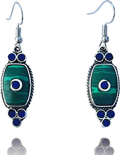 Jewelry Vintage Dangle Hook Earrings Natural Stone Tibet Silver Turquoise Leaf