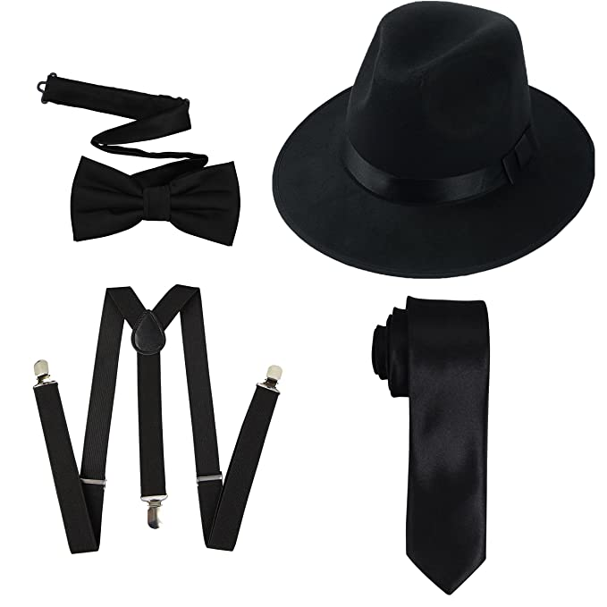 1940s Men's Costumes: WW2, Sailor, Zoot Suits, Gangsters, Detective TDmall Clothing Series 1920s Mens Accessory Set Hard Felt Wide Brim Panama HatY-Back Elastic SuspendersPre Tied Bow TieSkinny Tie $14.99 AT vintagedancer.com