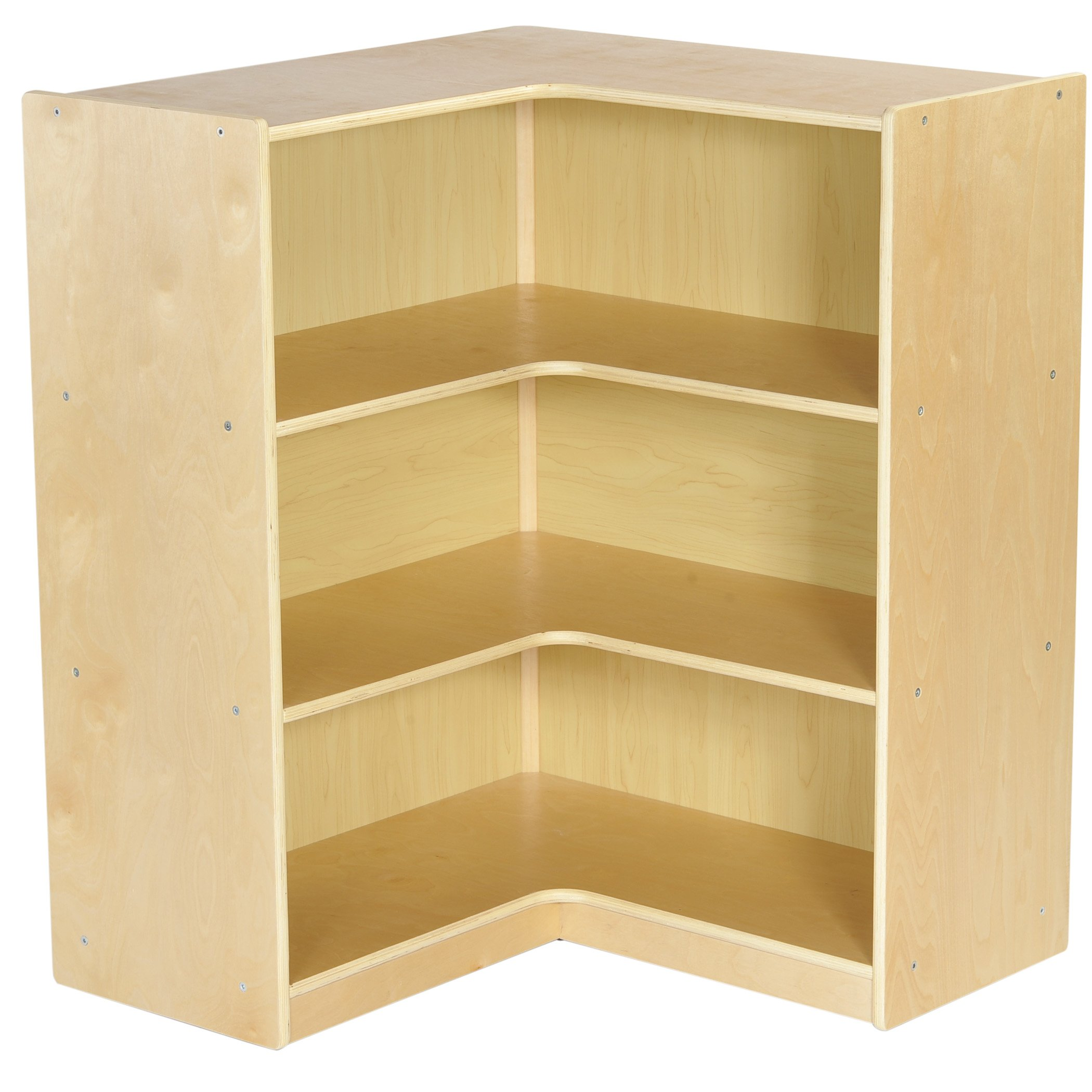 ECR4Kids Birch Corner Classroom Storage Cabinet with Casters, Natural, 36'' H