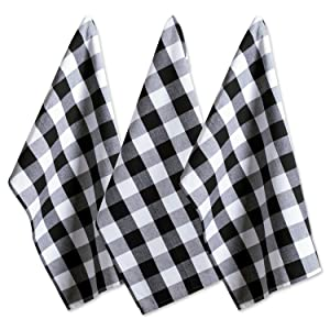 "DII Cotton Buffalo Check Plaid Dish Towels, (20x30"", Set of 3) Monogrammable Oversized Kitchen Towels for Drying, Cleaning, Cooking, & Baking - Black & White"