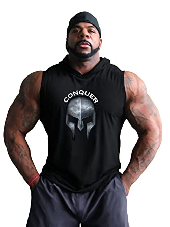 dec65016d097 Amazon.com  Fitted Charcoal Hardcore sleeveless Bodybuilder Hoodie With  Conquer Design  Clothing