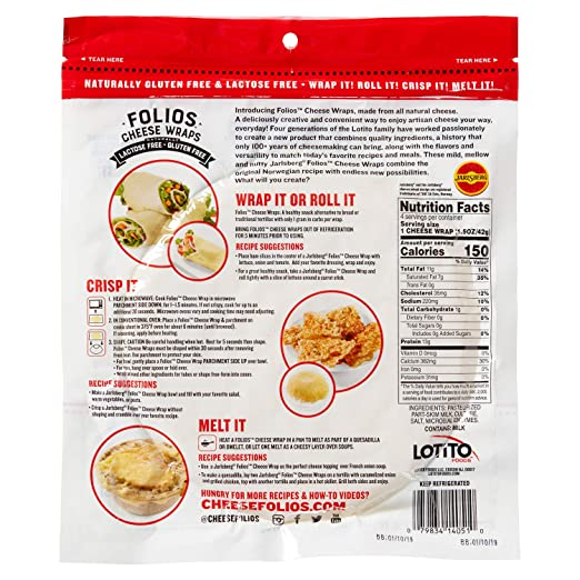 Folios All Natural 100% Jarlsberg Cheese Wraps