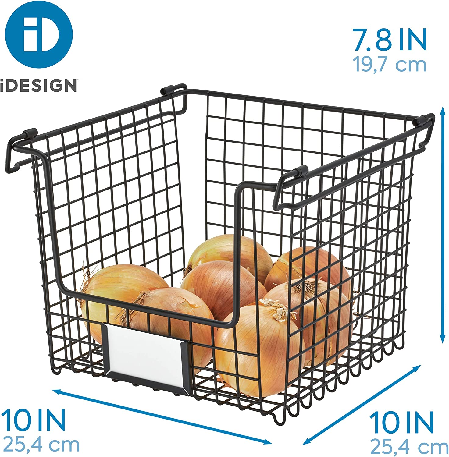 and Desk Organization 10 x 10 x 7.75 iDesign /Classico/Stackable Storage Basket with Handles for Pantry Bathroom Kitchen Matte Black Countertop